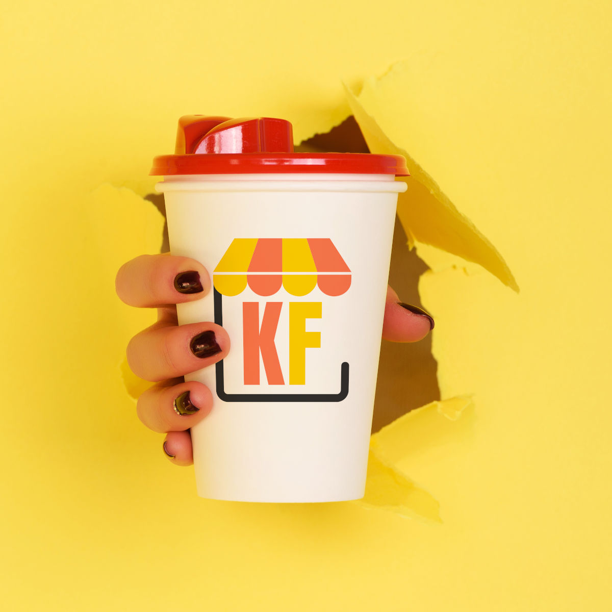 Female hand holding white paper mug on yellow background. Take away coffee cup concept. Mock up with copy space. Square crop